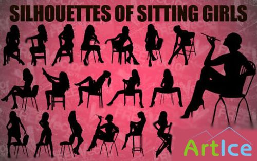 Girls Sitting Vector Silhouettes