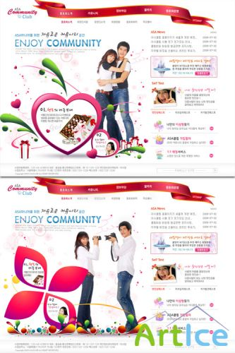 Happy dating Korean PSD Web Template