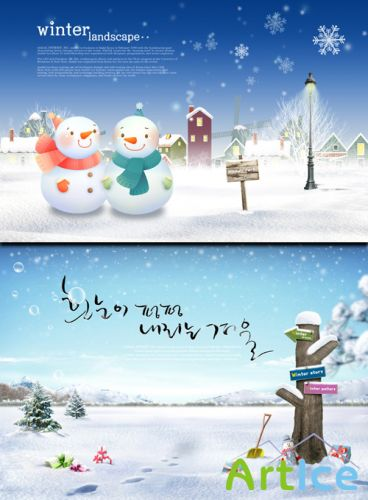 PSD Sources - Winter Story Two Snowmen