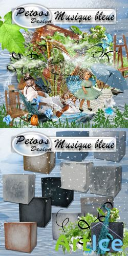 Scrap Set - Musique Bleue PNG and JPG FIles