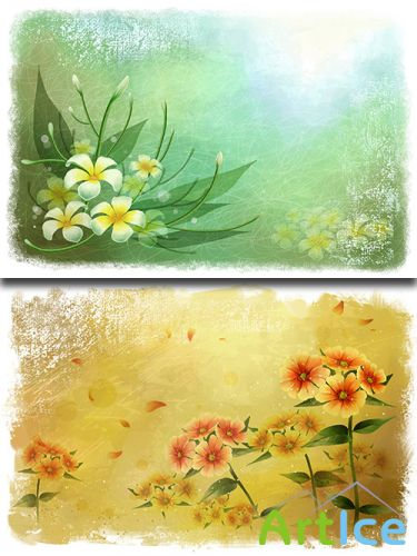 PSD Sources - Spring Backgrounds With Flowers