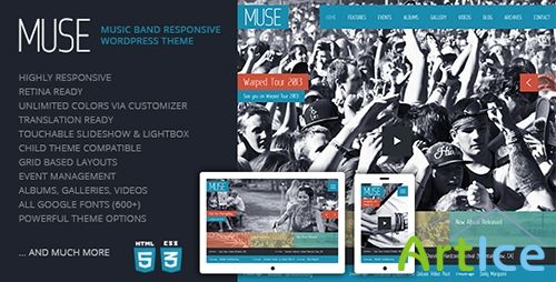 ThemeForest - Muse v1.0.3 - Music Band Responsive WordPress Theme