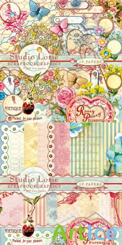 Scrap Set - Rosey Posey PNG and JPG Files