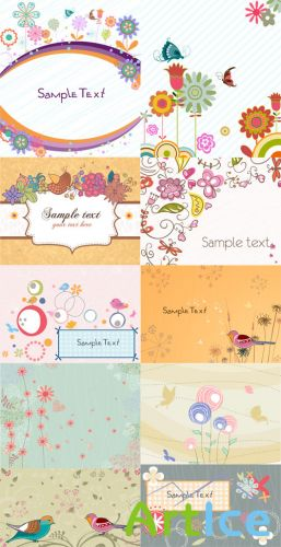 Spring Vector Backgrounds Set 11