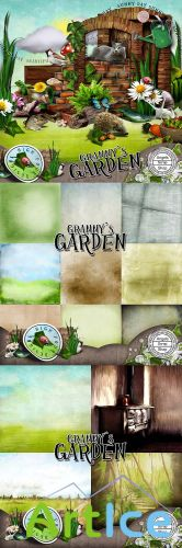 Scrap Set - Grannys Garden PNG and JPG Files