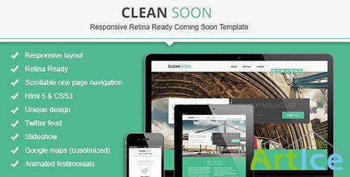 ThemeForest - Clean Soon Responsive Retina Ready Coming Soon - RIP