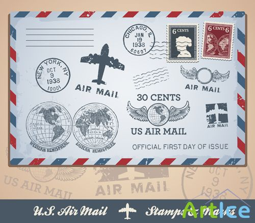 Vector U.S Airmail - Marks and Stampts