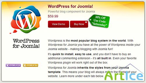 CorePHP - WordPress for Joomla v3.3, 3.5 for Joomla 2.5 - 3.x