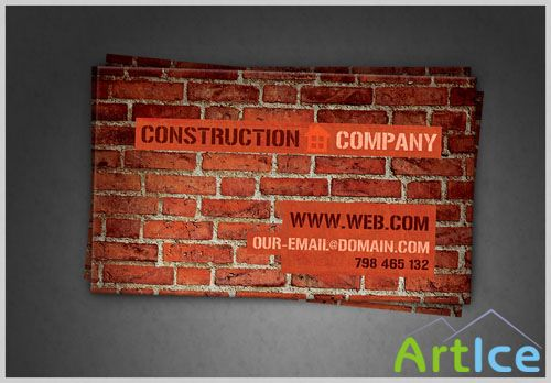 Construction Company Business Card PSD Template