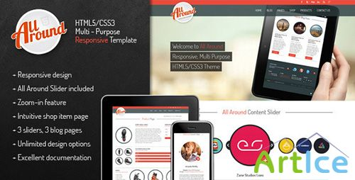 ThemeForest - All Around - Responsive Rounded HTML5/CSS3 Theme - RIP