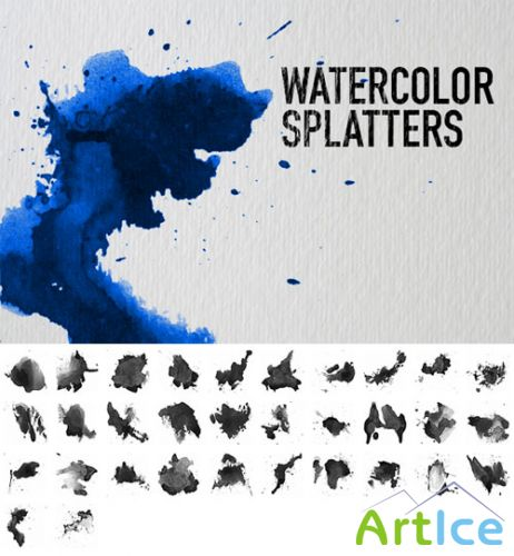 Watercolor Splatters Photoshop Brushes