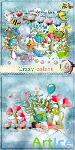 Scrap Set - Crazy Colors PNG and JPG Files