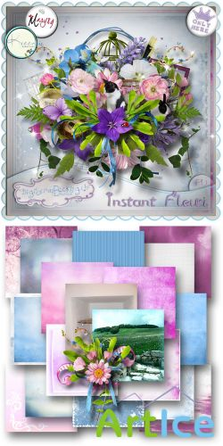 Scrap Set - Instant Fleuri PNG and JPG Files