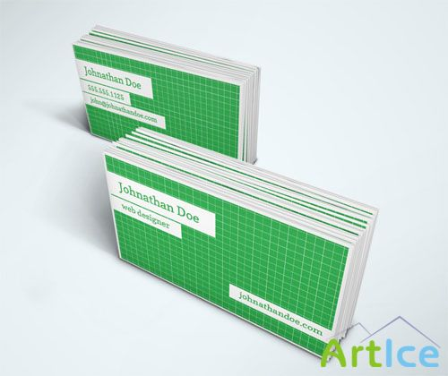 Grid Pattern Business Card PSD Template