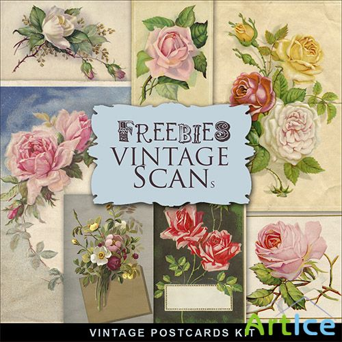 Scrap-kit - Vintage Postcards With Roses 2013