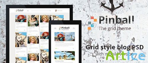 PSD Web Template - Pinball - Responsive Grid Style Blog