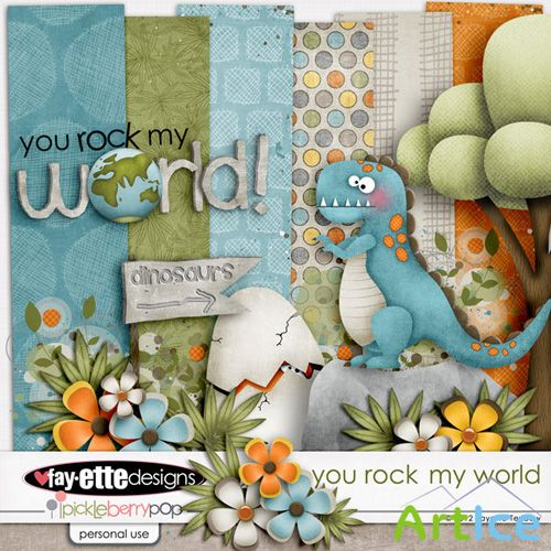 Scrap Set - You Rock My World PNG and JPG Files
