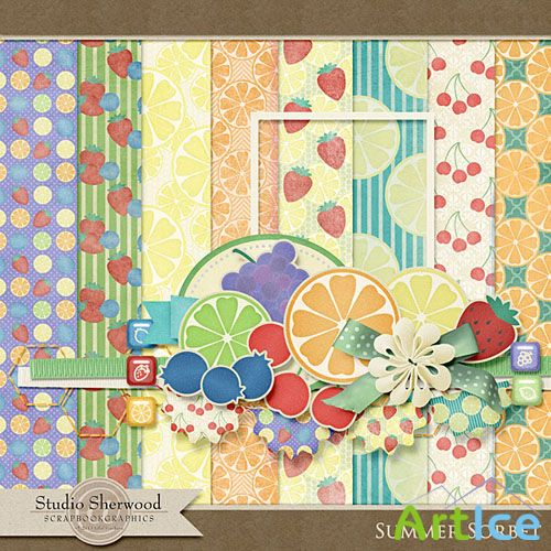 Scrap Set - Summer Sorbet PNG and JPG Files