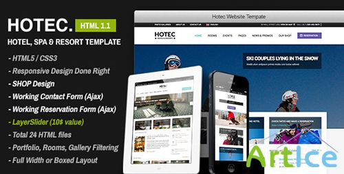 ThemeForest - Hotec v1.1 - Responsive Hotel, Spa & Resort Template - FULL