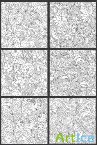 Seamless Vector Patterns Floral Chaos Set 59