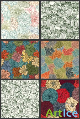 Seamless Vector Patterns Floral Chaos Set 60