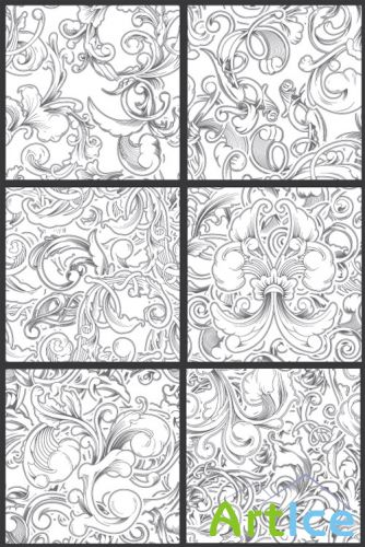 Seamless Vector Patterns Floral Chaos Engraved Set 62