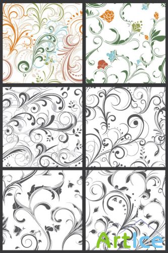 Seamless Vector Patterns Floral Chaos Set 64