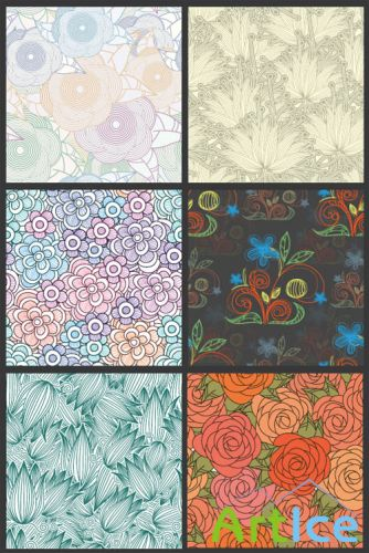 Seamless Vector Patterns Floral Chaos Set 65