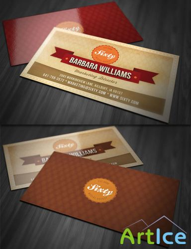 Retro-Style Business Card PSD Template