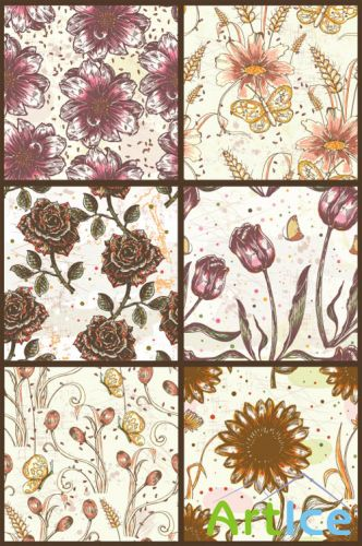 Seamless Vector Patterns Floral Print Set 68