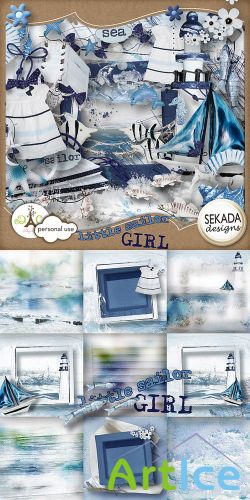 Scrap Set - Little Sailor Girl PNG and JPG Files