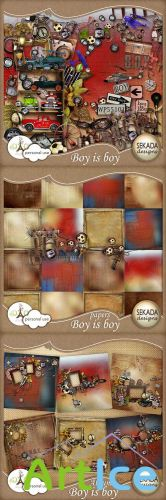 Scrap Kit - Boy is Boy PNG and JPG Files