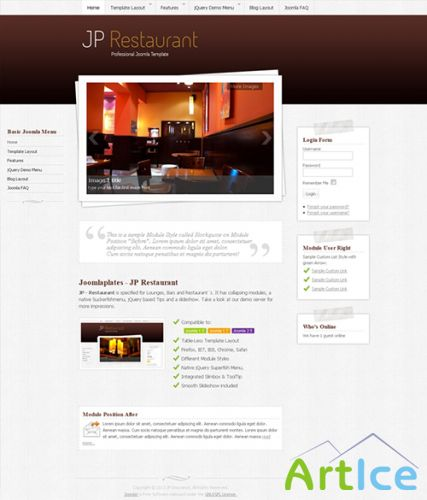 JoomlaPlates - JP Restaurant - Template for Joomla 2.5