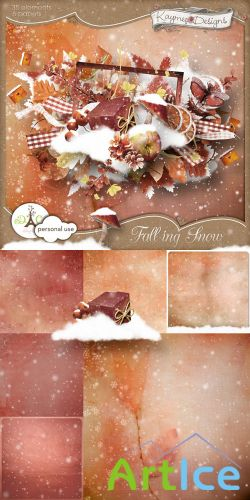 Scrap Set - Falling Snow PNG and JPG Files