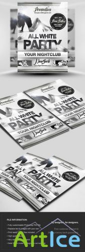 All White Party Flyer/Poster PSD Template