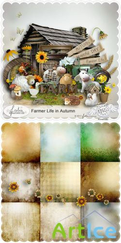 Scrap Set - Farmer Life in Autumn PNG and JPG Files