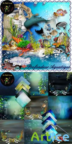 Scrap Set - Profondeur Aquatique PNG and JPG Files