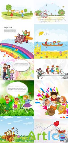 Kids Vector Illystrations Set 2