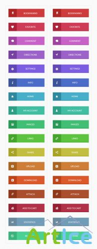 Flat Buttons PSD Web Elements Set 1