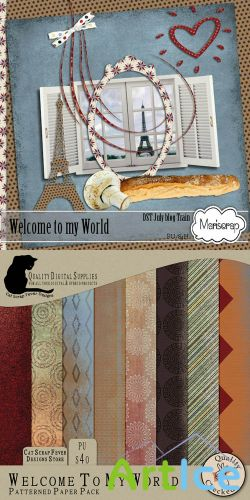 Scrap Set - Welcome to my World Png and JPG Files