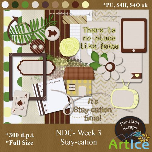 Scrap Set - Stay-Cation PNG and JPG Files