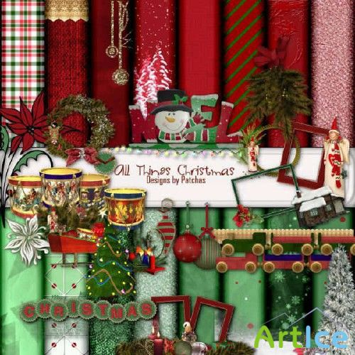 Scrap Set - All Thines Christmas PNG and JPG Files