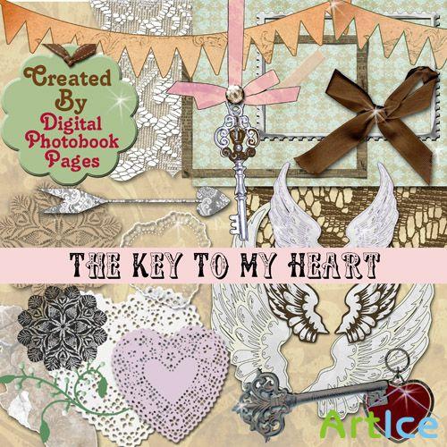 Scrap Set - Key To My Heart PNG and JPG Files