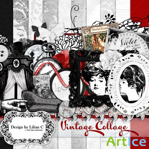 Scrap Set - Vintage Collage PNG and JPG Files