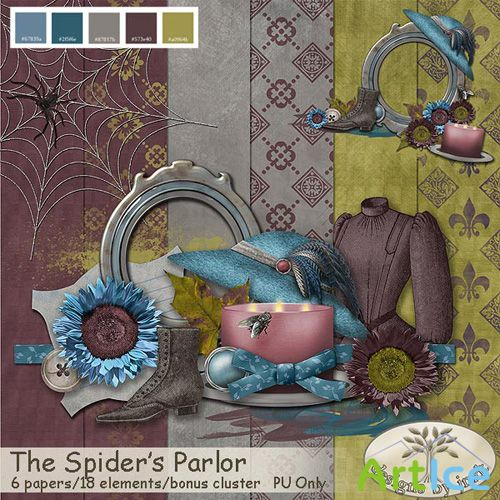 Scrap Kit - The Spiders Parlor PNG and JPG Files