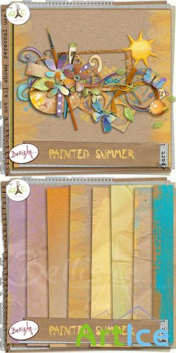 Scrap Set - Painted Summer PNG and JPG Files