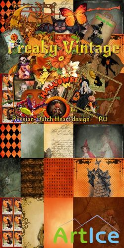 Scrap Set - Freaky Vintage PNG and JPG Files