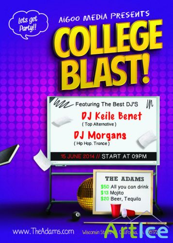 College Blast Flyer Template PSD
