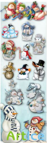 Cute and Funny Snowmen PNG Files