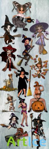 The eve of Halloween Witches PNG and JPG Files